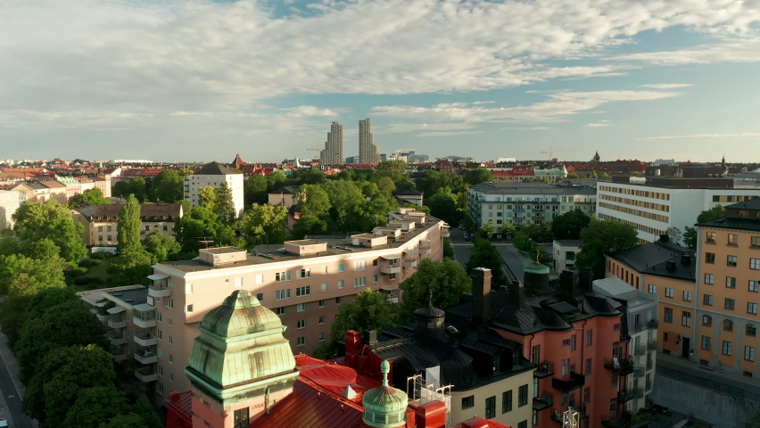 Aerial view of residential buildings in Stockholm City | Shutterstock HD Video #1061476453