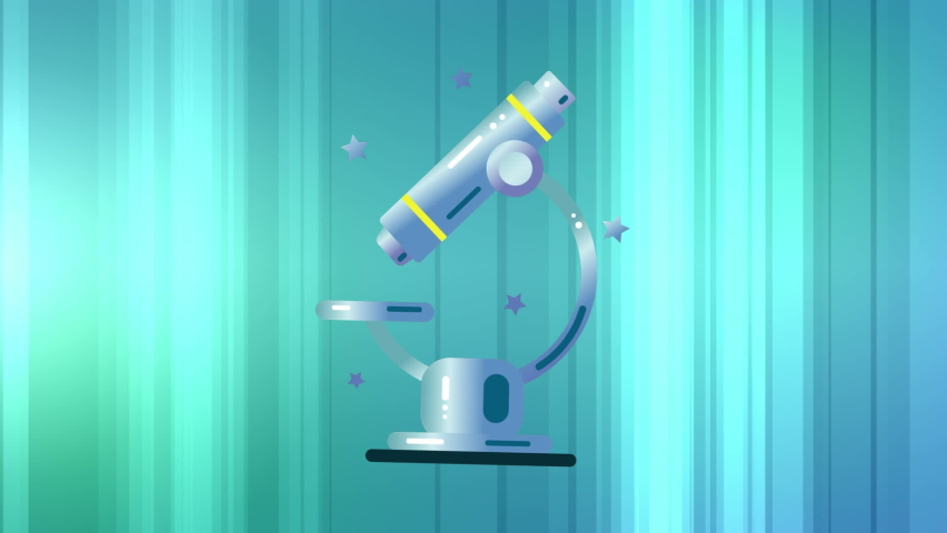 Digital animation of microscope icon moving against glowing green and blue gradient abstract background. Illustration, education and school concept. | Shutterstock HD Video #1061480059