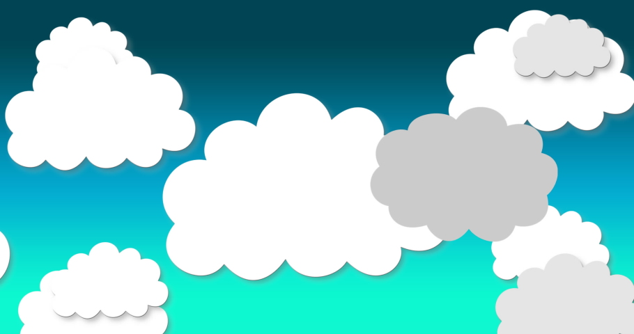 Digital animation of multiple cloud icons falling against blue and green gradient background. Illustration, education and school concept | Shutterstock HD Video #1061480062