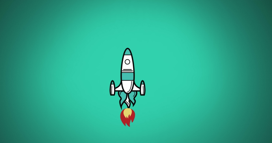 Digital animation of rocket icon flying upwards against green background. Illustration, education and school concept. | Shutterstock HD Video #1061480065