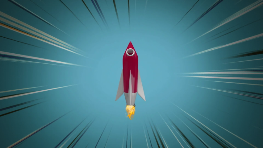 Digital animation of red rocket icon against blue background with black and white lines. Illustration, education and school concept. | Shutterstock HD Video #1061480071