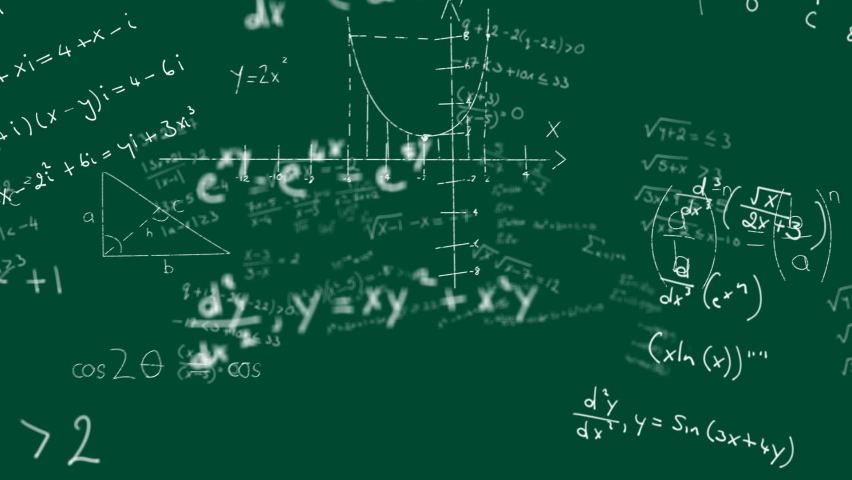 Animation of multiple handwritten mathematical equations moving over green background. Global science learning education concept digitally generated image. | Shutterstock HD Video #1061480110