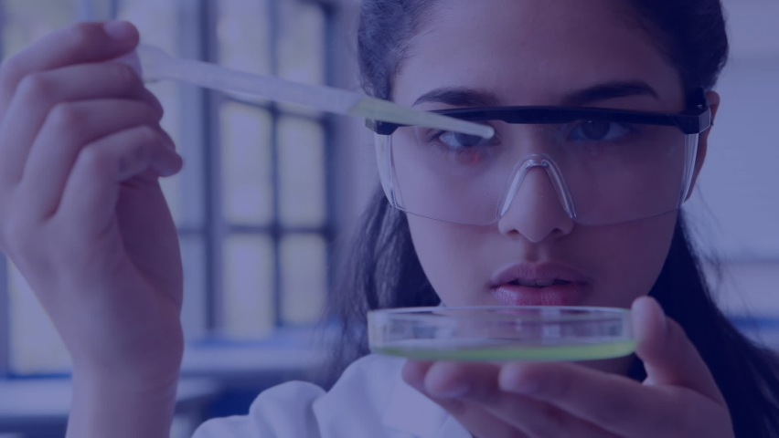 Animation of molecules, scientific data processing over schoolgirl holding pipette and dish, experimenting in laboratory. Global science learning education concept digitally generated image. | Shutterstock HD Video #1061480122