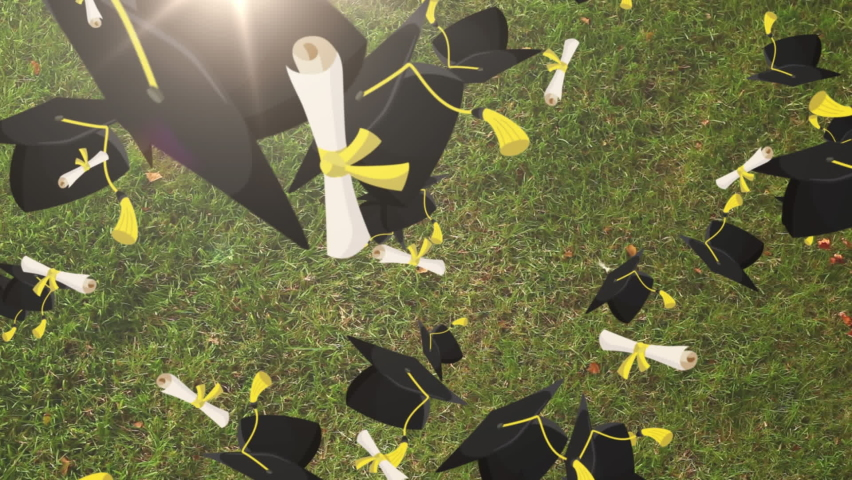Animation of diploma certificate scrolls and graduation hats falling over girl lying on grass in park with eyes closed. Graduation learning education concept digitally generated image. | Shutterstock HD Video #1061480128