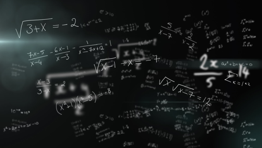 Animation of handwritten mathematical equations moving over black background. Global science learning education concept digitally generated image. | Shutterstock HD Video #1061480140