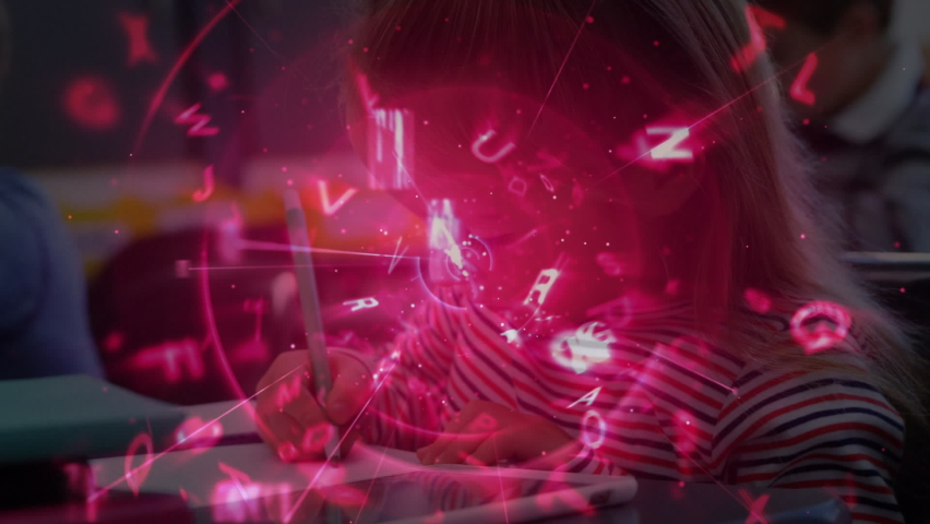 Animation of pink glowing data processing over school children writing at school in class. Global science learning education concept digitally generated image. | Shutterstock HD Video #1061480149