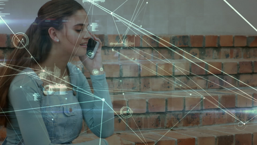 Animation of network of connections and data processing over schoolgirl using smartphone in school yard, talking. Global social media learning education concept digitally generated image. | Shutterstock HD Video #1061480155