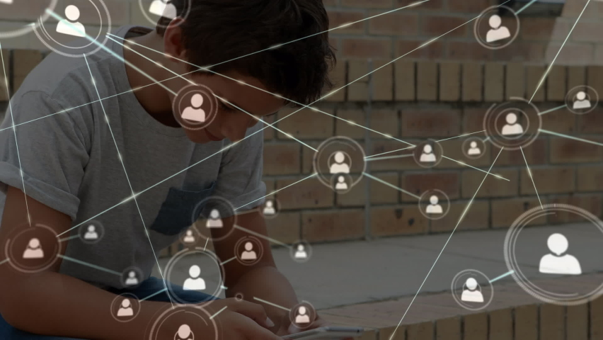 Animation of network of connections with icons over schoolboy using smartphone in school yard, texting. Global social media learning education concept digitally generated image. | Shutterstock HD Video #1061480158