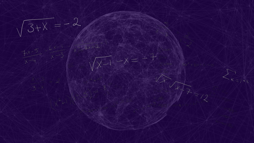 Animation of handwritten mathematical equations moving over spinning globe on purple background. Global science learning education concept digitally generated image. | Shutterstock HD Video #1061480161