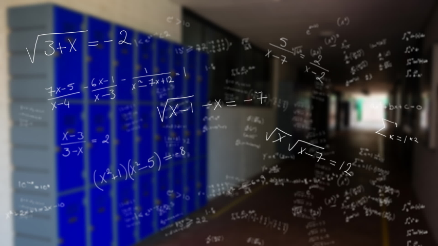Animation of handwritten mathematical equations moving over school corridor with lockers in the background. Global science learning education concept digitally generated image. | Shutterstock HD Video #1061480170