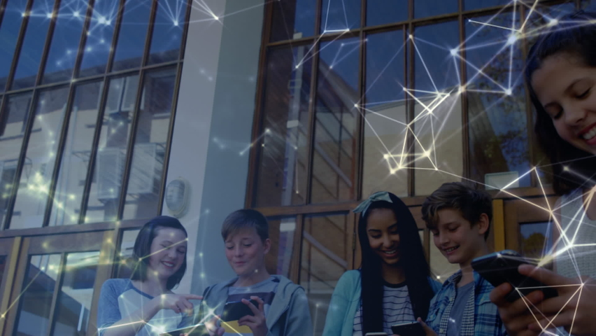 Animation of network of connections over students using electronic devices outside school building. Global science learning education concept digitally generated image. | Shutterstock HD Video #1061480173