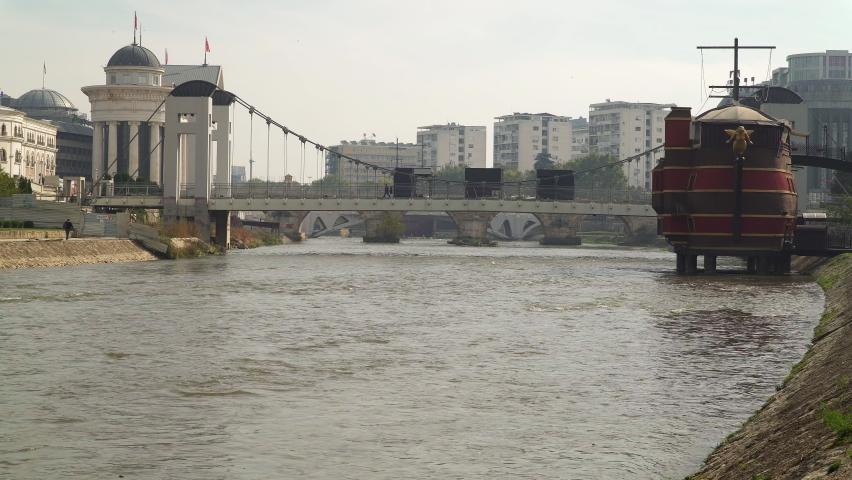 River Vardar in central Skopje, North Macedonia | Shutterstock HD Video #1061487295
