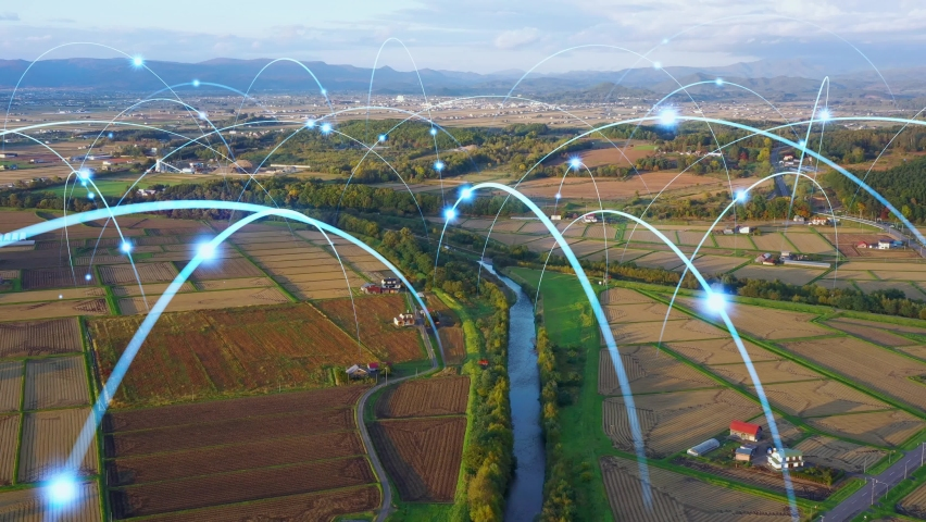Agriculture and technology. Agritech. Environment. Communication network. | Shutterstock HD Video #1061487562