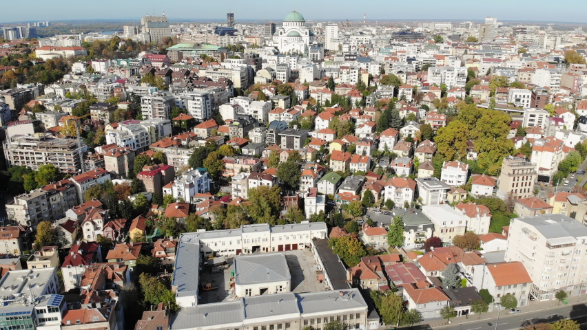 Drone video of Vracar, one of the oldest municipalities located in central Belgrade, Serbia. City skyline, aerial view.  | Shutterstock HD Video #1061489932