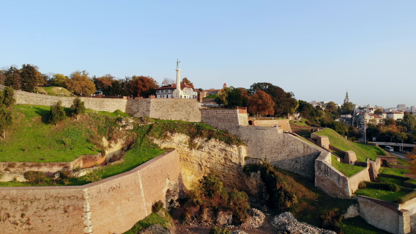 Drone video of Kalemegdan fortress and Victor monument, important historic landmarks of Belgrade, Serbia | Shutterstock HD Video #1061490379