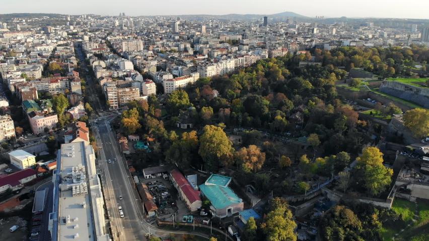 Aerial view of Kalemegdan park and city skyline of Belgrade, Serbia | Shutterstock HD Video #1061491012