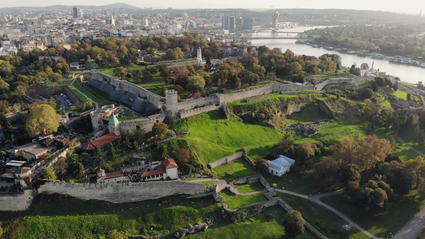 Drone video of Kalemegdan fortress, a medieval stone structure and one of the most important landmarks of Belgrade, Serbia. Aerial view, city skyline.  | Shutterstock HD Video #1061491534