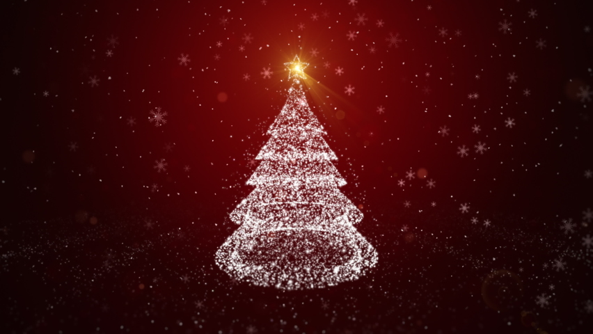 White Christmas tree with particle and shining light. with a depth of field focus, falling snowflakes and stars. Christmas or New Year background Concept | Shutterstock HD Video #1061493178