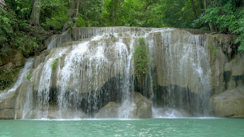 Erawan waterfall second level in National Park, famous tourist destination in Kanchanaburi, Thailand.