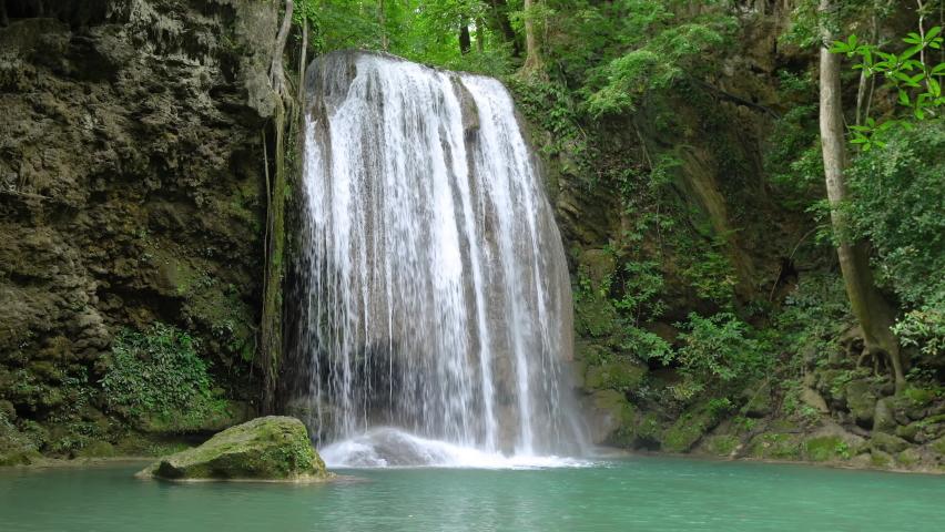 Erawan waterfall third level in National Park, famous tourist destination in Kanchanaburi, Thailand.