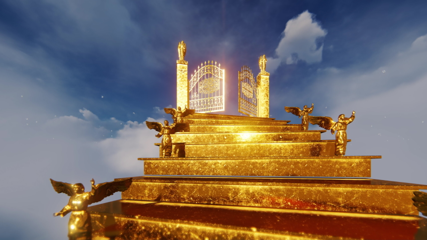 Golden Angels on stairs towards Heaven Gates opening and bright doves, 4K   Shutterstock HD Video #1061502886