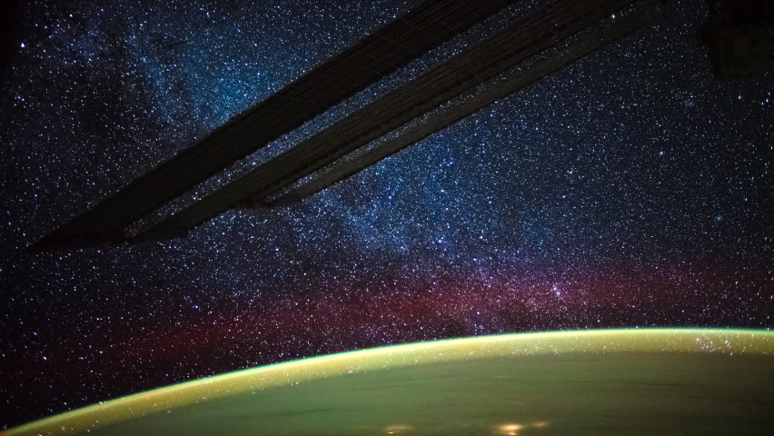 ISS Time-lapse Video of Earth seen from the International Space Station with Milkway and Aurora Australis over the earth, Time Lapse 4K. Images courtesy of NASA. | Shutterstock HD Video #1061508259