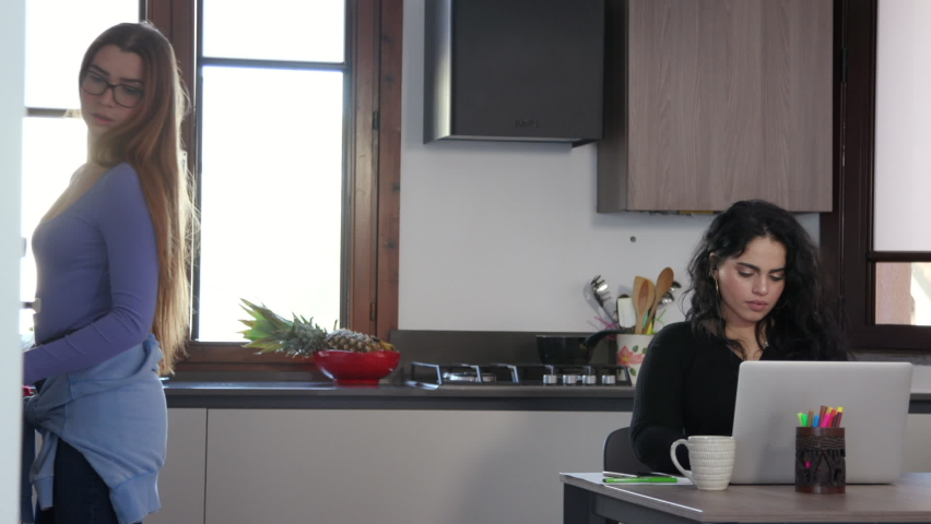 Women Cooking And Remote Working In Kitchen During Lockdown | Shutterstock HD Video #1061509579