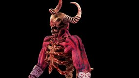 The Hell Creature VJ Loop is a motion graphics clip featuring horned demon. The creature features are a mix of demon and skeleton features. This video is perfect for VJ thematic sets, metal and gothic
