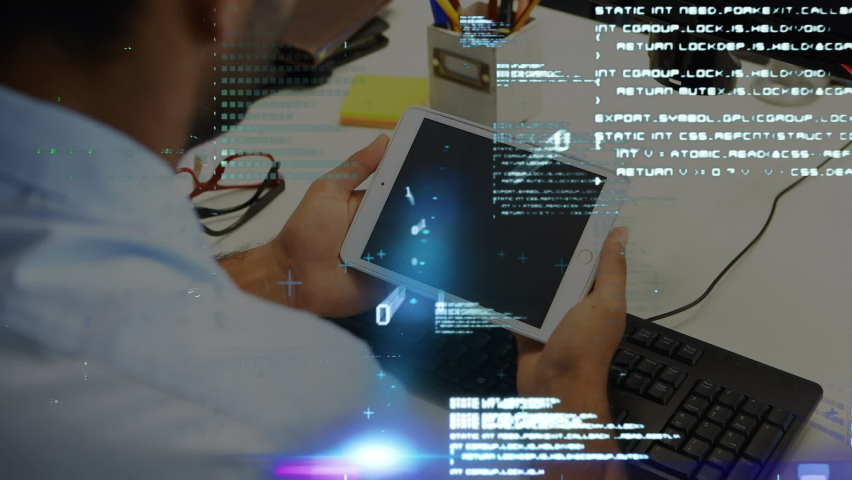Animation of digital interface with binary coding and data processing over man using digital tablet. Global computer network technology concept digitally generated image. | Shutterstock HD Video #1061511133