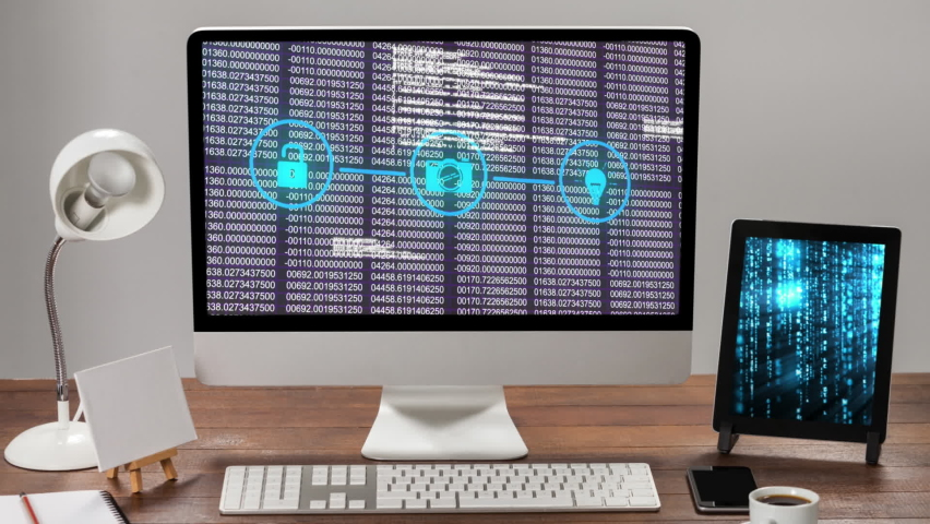 Animation of digital interface with three icons and data processing over screen of computer with digital tablet on desk. Global computer network technology concept digitally generated image. | Shutterstock HD Video #1061511166