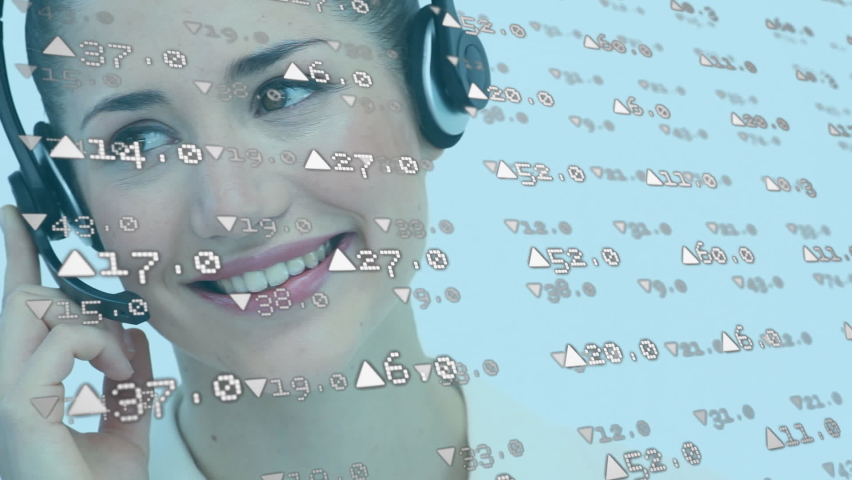 Animation of white arrows with numbers floating over a Caucasian female call centre worker talking on the phone, wearing headphones and smiling. Digital composite video | Shutterstock HD Video #1061511226