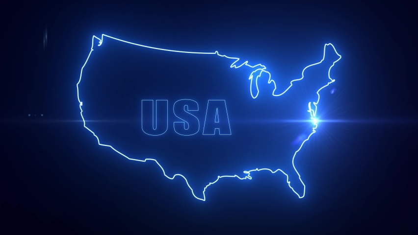 Map of United States of America -USA Maps Technology Background  | Shutterstock HD Video #1061518378