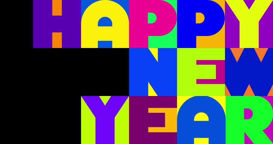 Happy New Year background in typographical style, Happy New Year card animated. | Shutterstock HD Video #1061520190