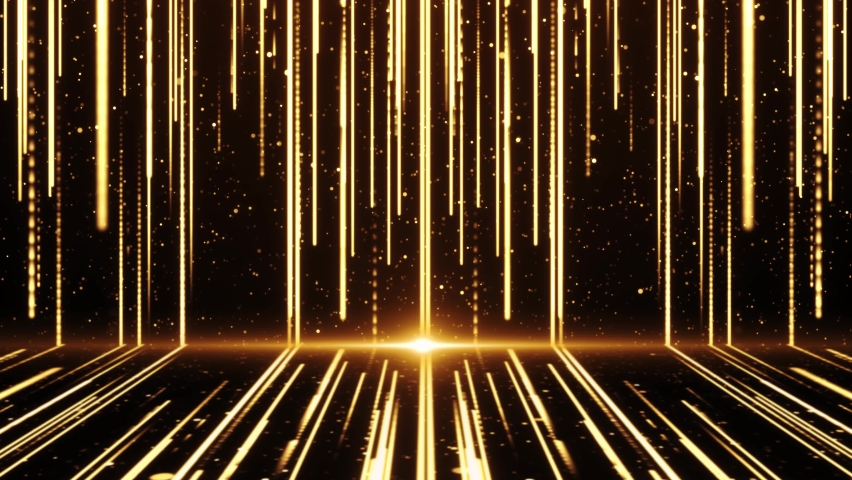 4K 3D Wall of glitter abstract Particles Bright golden rays on The Floor Luxury Space. Glamor surface loop background. event, concert, music, show, Awards, fashion, festival, night, club, stage. | Shutterstock HD Video #1061521462