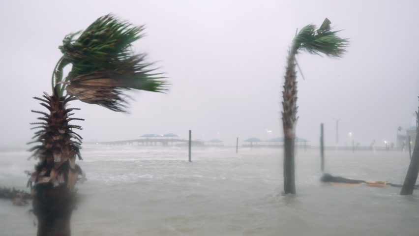 Hurricane Zeta Blasts Waveland, MS With Strong Winds and Storm Surge Flooding During the 2020 Hurricane Season Royalty-Free Stock Footage #1061530402