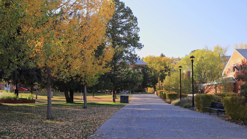Beautiful fall color around the campus of Northern Arizona University at Arizona | Shutterstock HD Video #1061530768