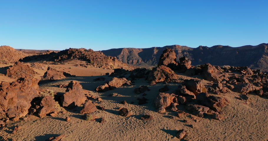 Volcano Teide and lava scenery in Teide National Park - Tenerife, Canary Islands.   Shutterstock HD Video #1061534545