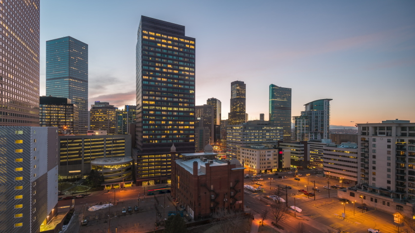 Denver, Colorado, USA downtown cityscape rooftop view at dusk. | Shutterstock HD Video #1061535502