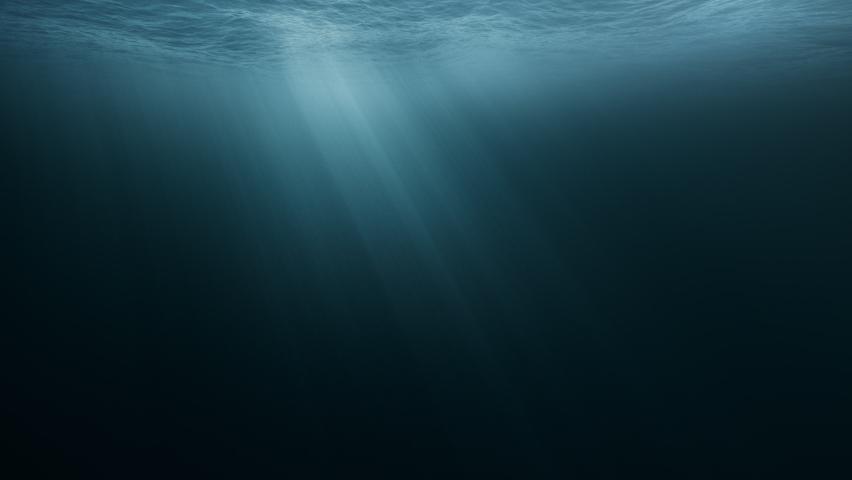 Light Rays In Dark Underwater Ocean Abyss Background Darkness Dread Mystery Magical Deep Ocean Waves Stormy Water Sun Light Beams Illuminating Ocean Depths | Shutterstock HD Video #1061543689