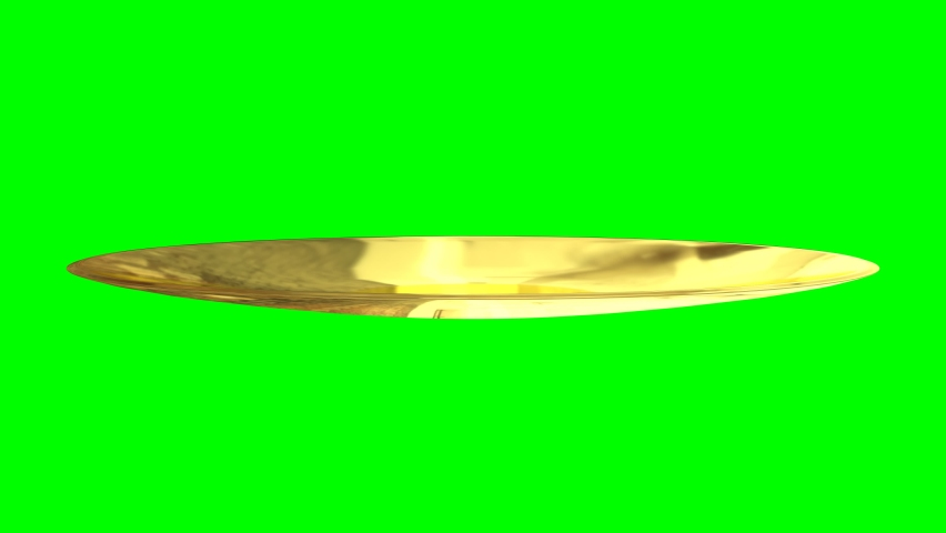 Animated spinning round glossy gold or yellow porcelain dinner or culinary shallow plate in flat position against green background. Isolated and loop able.   Shutterstock HD Video #1061568217