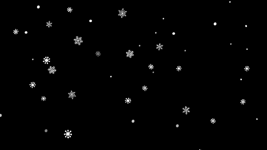 Winter holidays animated snowflakes on black background.  Animation with falling snowflakes