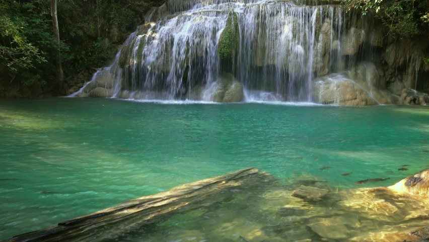 One of the waterfalls of the Erawan cascade in Kanchanaburi province, Thailand, 4k