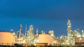 Timelapse manufacturing oil refinery terminal is industrial facility for storage of oil petrochemical. Business Industrial and energy. Oil refinery timelapse. Time lapse gas plant Day to Night b roll.