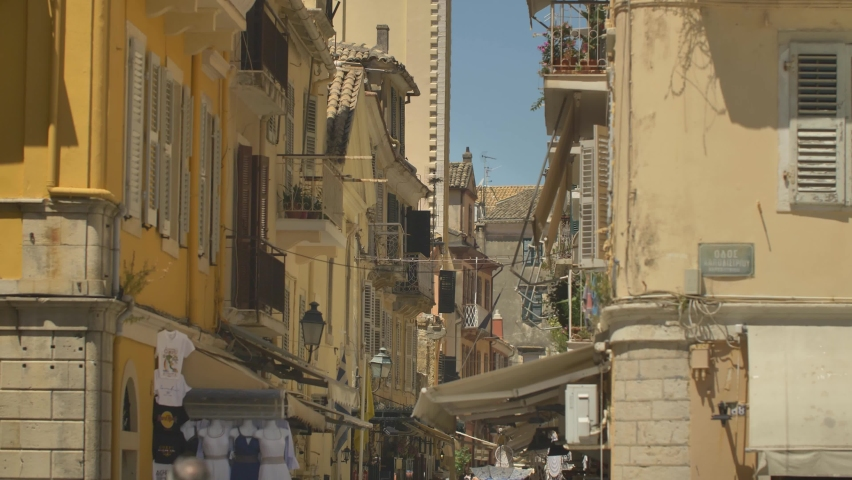 Streets of Corfu Town, architecture of Corfu old town, Greece.   Shutterstock HD Video #1061603857