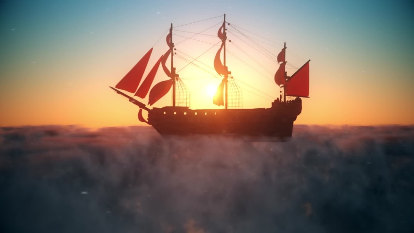 Flying Pirate Galleon on the Clouds at Sunset Landscape Background Royalty-Free Stock Footage #1061606398