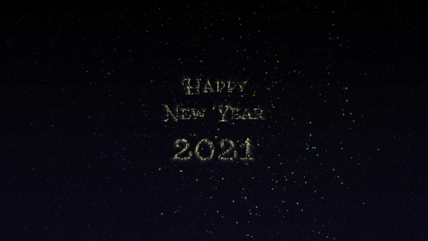 Fireworks reveal shimmering Happy New Year 2021 text against the starry background animation | Shutterstock HD Video #1061606989