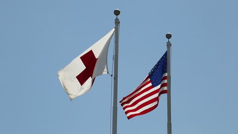 Red Cross & US flags