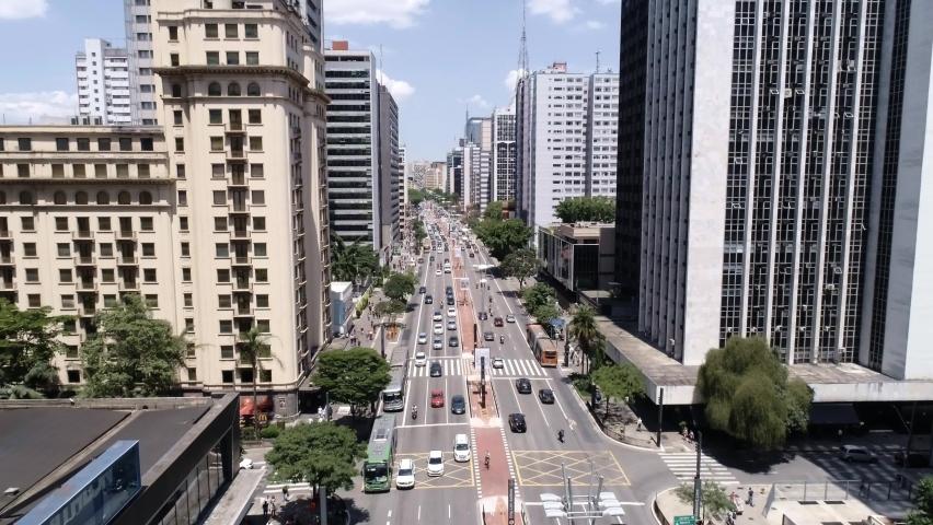 Aerial view of Avenida Paulista (Paulista avenue) in Sao Paulo city, Brazil. 4K. Royalty-Free Stock Footage #1061621134