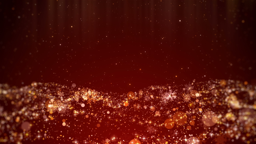 Motion graphic festive red christmas background looped of gold snowflakes, snow, stars and shiny lights background with copy space for text. | Shutterstock HD Video #1061621245