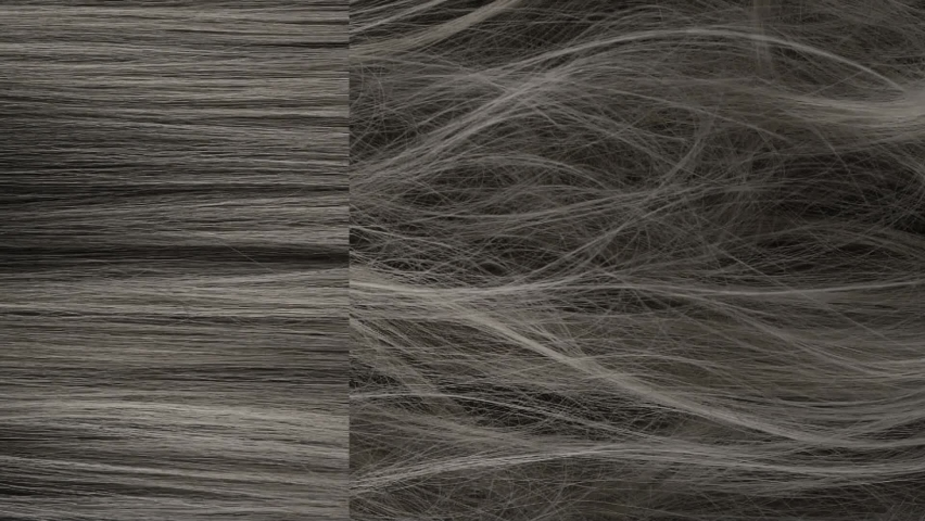 Slow motion before and after beautiful grey long smooth hair texture background, vertical video.   Shutterstock HD Video #1061624374